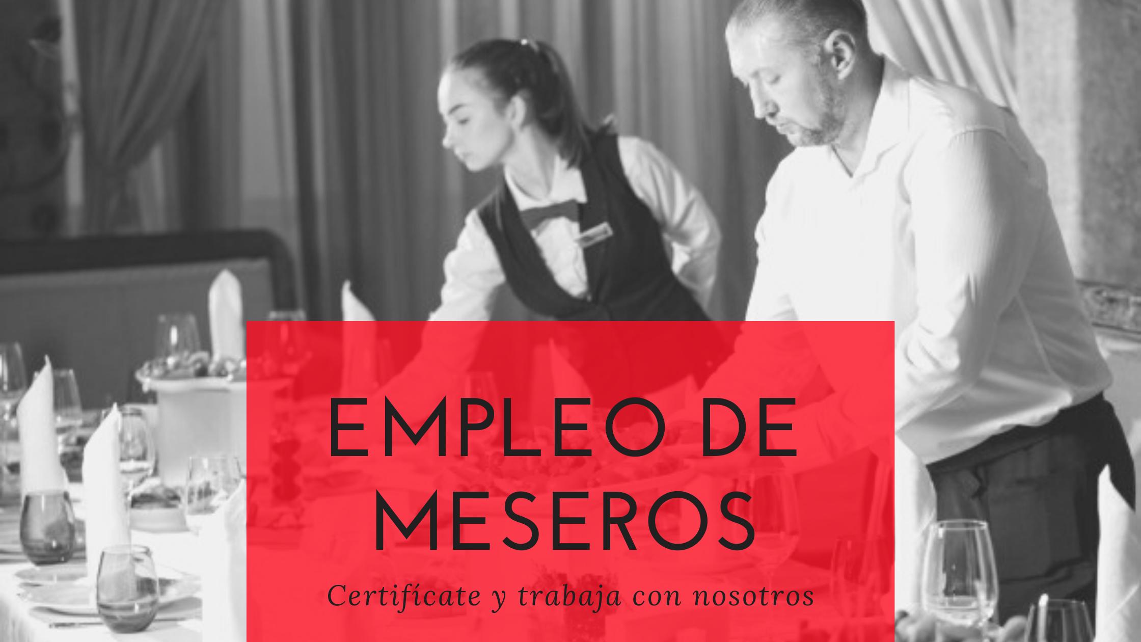 Empleo de meseros para banquetes y eventos